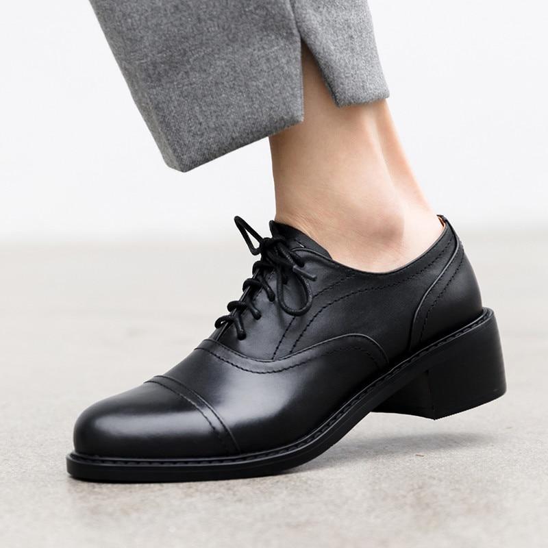 最高品質の牛革レースアップドレス女性のダービー靴女子大生の学生オックスフォード靴女性ワイン赤靴  グループ上の 靴 からの レディースフラット の中 3