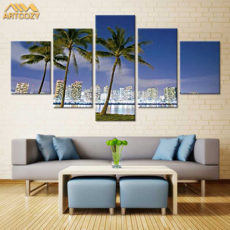 Artcozy 5Panel Canvas Art Painting Spray Printings Coconut tree Wall Picture Home Decoration Paint Waterproof Pipe Packing