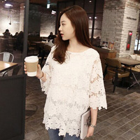2017 Spring And Summer Sweet And Sexy Hollow Bottoming Shirt Big Yards Loose Shirt Sleeve Lace