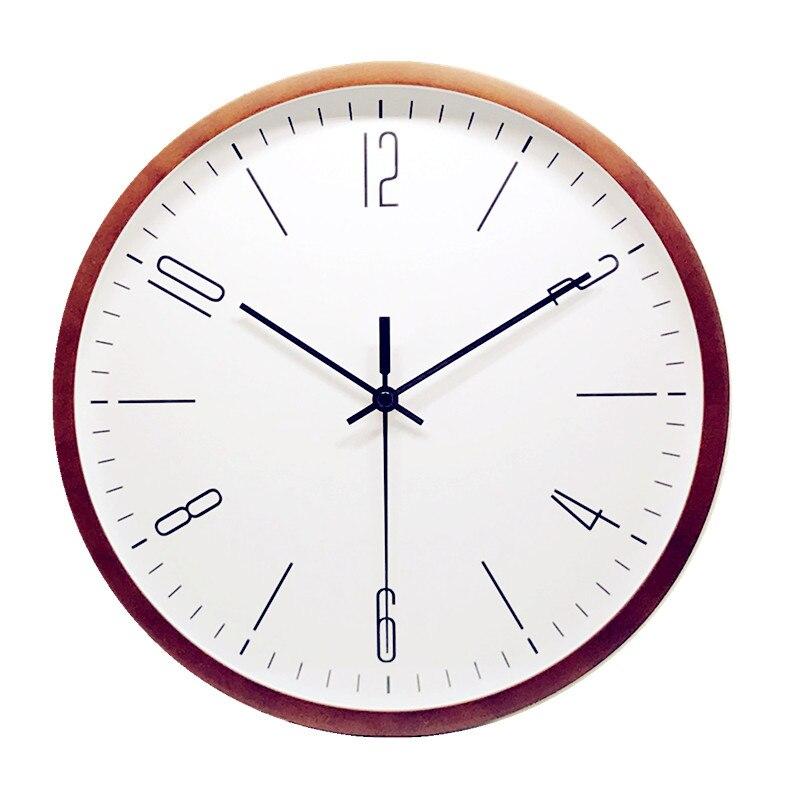 Gaya cina Walnut Kayu Jam Dinding Kamar Tidur Ruang Tamu Kreatif Sederhana  Diam Quartz Jam di abc104de9f
