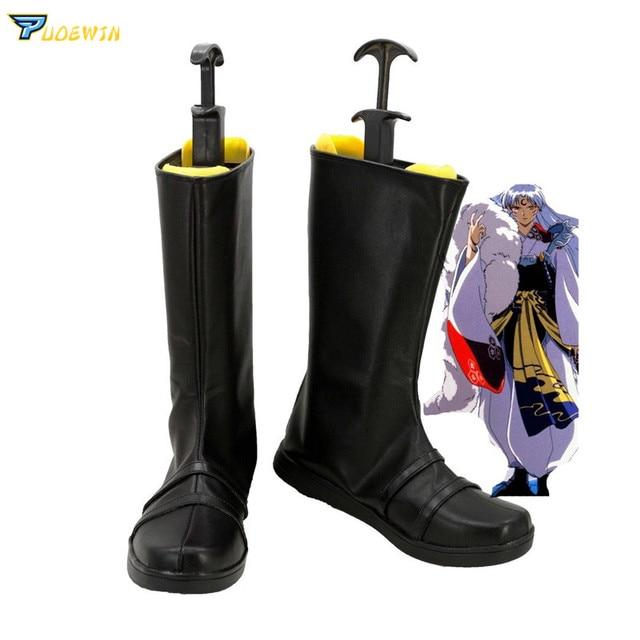 Anime Inuyasha Sesshoumaru siyah çizmeler Cosplay parti ayakkabıları Ismarlama
