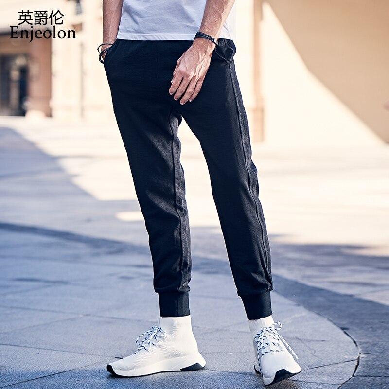 Enjeolon Brand Summer Spring Men Causal Pants Black Long Straight Trousers Man Sweatpants Streetwear Male Harem KZ6346