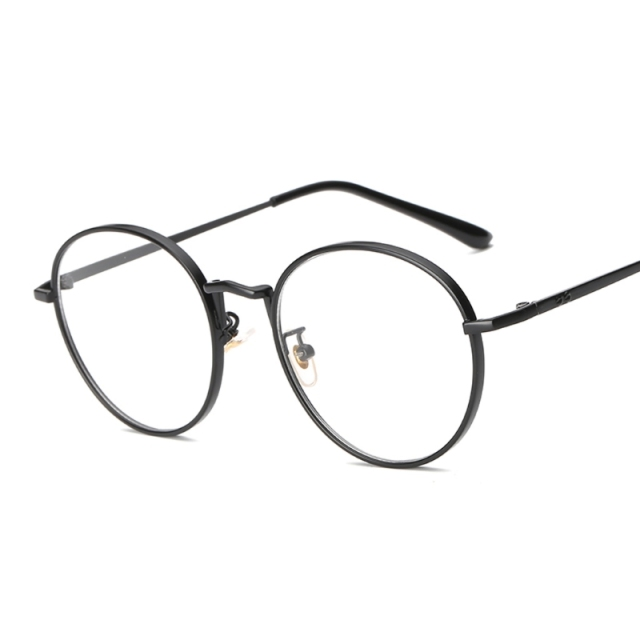 Women Oval Metal Eye Glasses frames Plain Mirror Clear Lens Harajuku ...