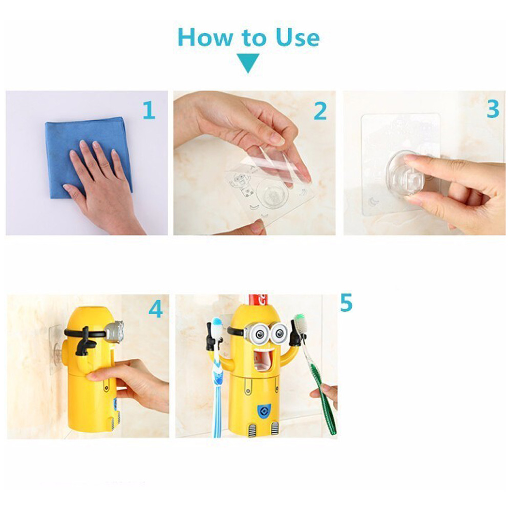 Minion Automatic Toothpaste dispenser + Brush Holder 5