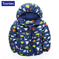 Boys Clothing 2016 Winter Down Coat Cute Dinosaur Pattern Coat Thick Warm New Year Jackets White Duck Down Jacket Baby Clothes
