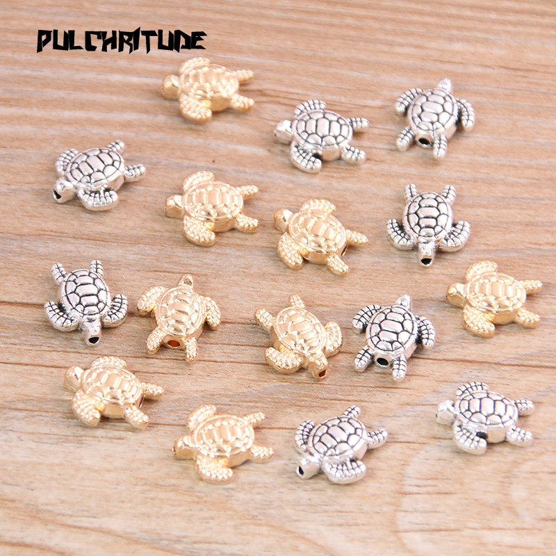 PULCHRITUDE 14pcs 12*13mm Two Color Tortoise Turtle Bead Spacer Bead Charms For Diy Beaded Bracelets Jewelry Handmade Making