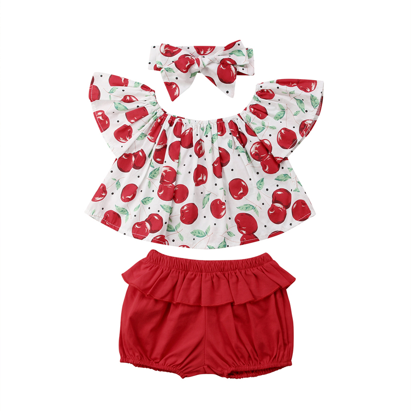 New Fashion Infant Baby Kids Girls Clothes Off Shoulder Cherry Print Outfits T-Shirt Top ...
