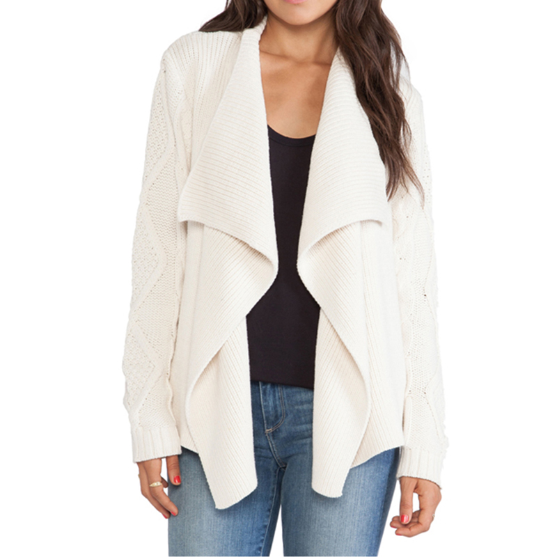 Autumn Women Cardigan Coat Hollowed Out Brief Golilla Solid White Knitting Coat Street Style Casual Warm Cardigan