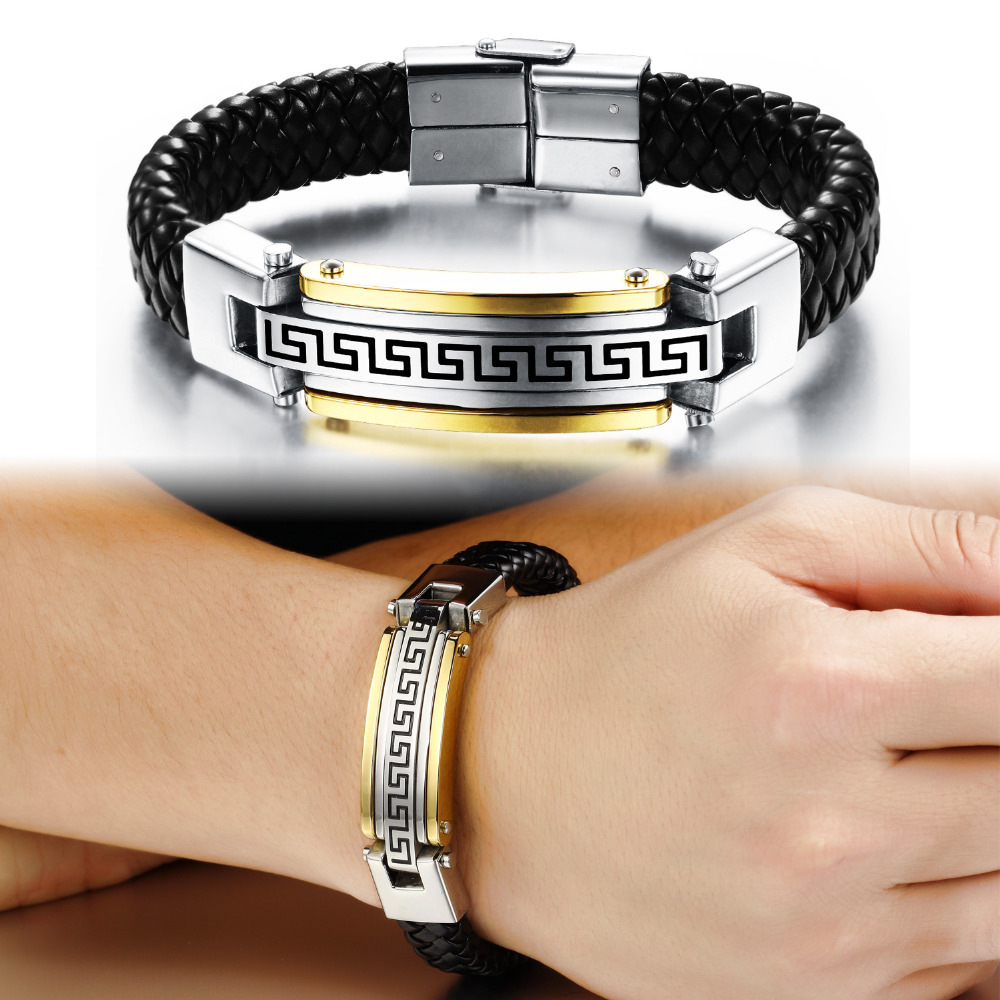 03d9339956d4 Classical Man Wrap Bracelets Fashion New Genuine Leather Knitted With Full  Steel Great Wall Design Men Jewelry PH917