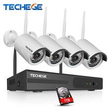Techege 4CH CCTV System Wireless 960P NVR 4PCS 1.3MP IR Outdoor P2P Wifi IP CCTV Security Camera System Surveillance Kit 1TB HDD