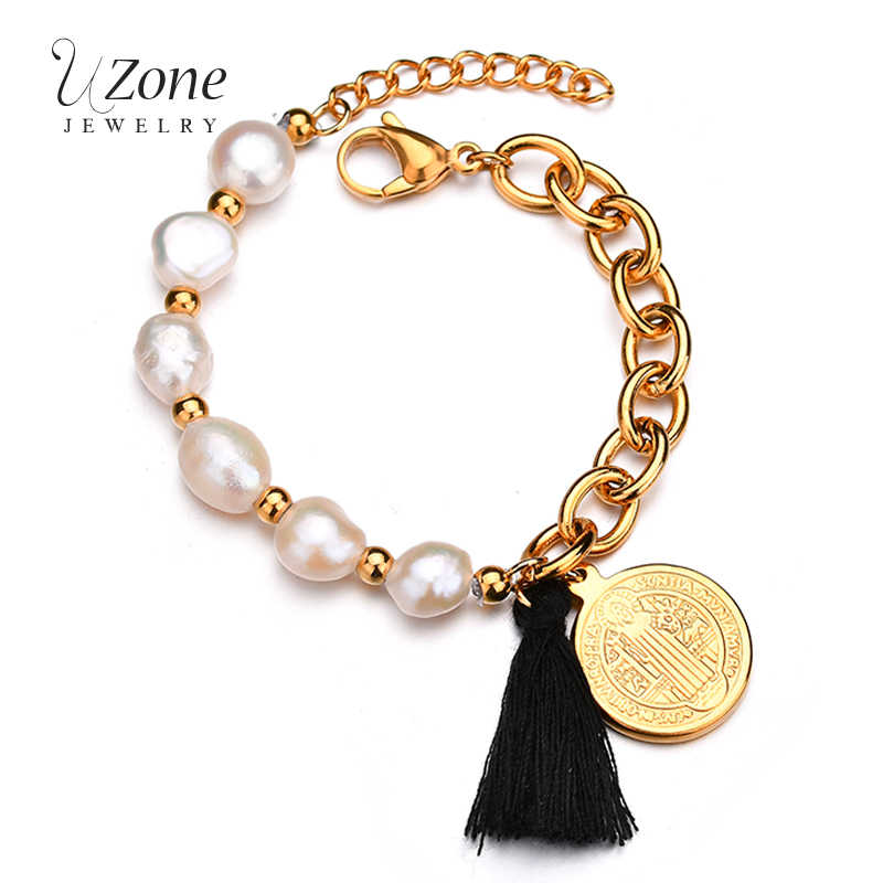 UZone Charm Bracelet For Women Baroque Simulated Pearl Black Tassels Jesus Bangle Christ Prayer Gift Religious Jewelry Wholesale