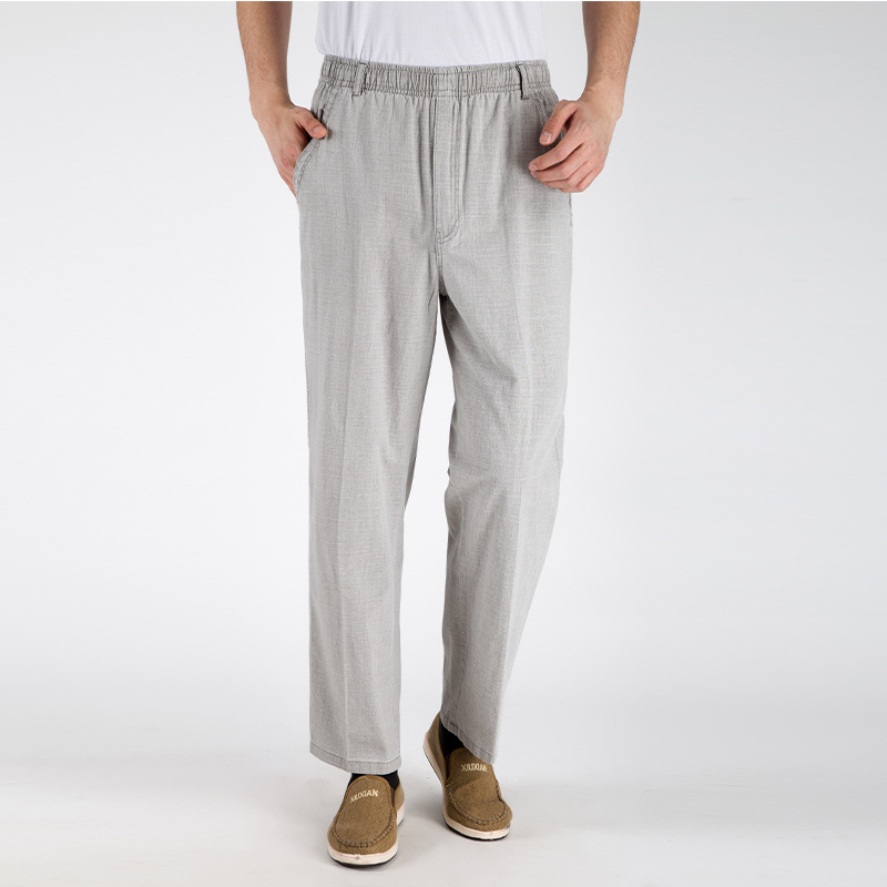 New Arrival Autumn and Summer Style <font><b>Jeans</b></font> Men Pants Tall waist Plus Size 5XL Flax Breathable Loose men's trousers