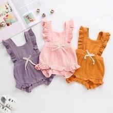 Одноцветный комбинезон с рюшами для новорожденных девочек, комбинезон с крестиком на спине, пляжный костюм, одежда для малышей