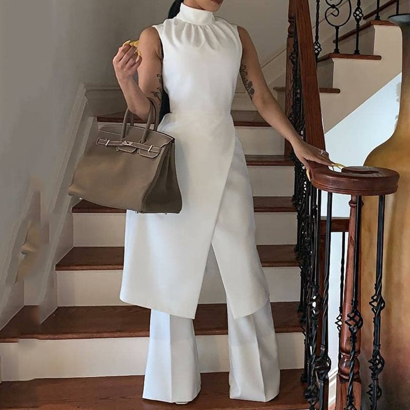 Summer Sexy Club Casual White Simple Elegant Women   Jumpsuits   Long Wide Legs Pants Plain African Female Fashion Office Rompers