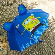 YADA Cartoon 3D Child Automatic Spongebob Squarepants Umbrella Rainproof Sun Rainy Long Handle Boy Girl Kid Tools YD052