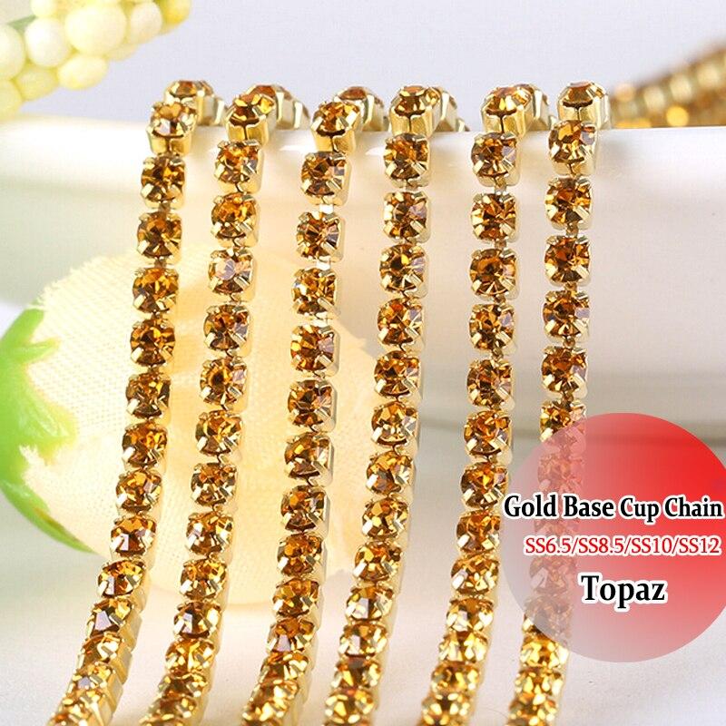 Gold Base 3mm Rhinestones chain DIY Chain SS12 10 Yards Topaz diy  decoration Sewing Rhinestones Chain For Clothes cc3a976881fd