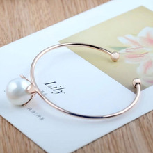 Simple Fashion Cuff Bangles Gold Color Imitation  Flower Opening Bracelets&Bangles For Women Jewelry