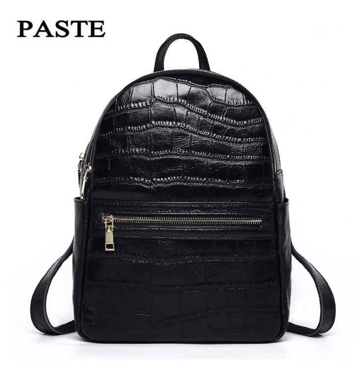 PASTE Brand 100 Genuine leather Backpack Alligator Pattern Student School Bags Classic Style Ladies Shoulder