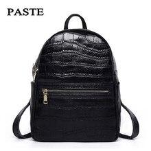 Паста бренд 100% рюкзак из натуральной кожи аллигатора узор школьные сумки Классический Стиль Дамы Сумка из мягкой кожи