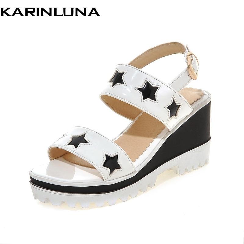 Tacones De Cuña Mujer Negro Verano Sandalias blanco 2018 Karinluna Estrella  Plataforma Grande Zapatos 33 Ocio ... a68c2bf65f55