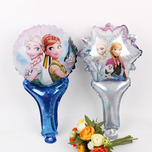 10pcs Princess balloons Snow white Elsa foil ballon Birthday Party decorations kids hand hold stick inflatable globos gift toys(China)