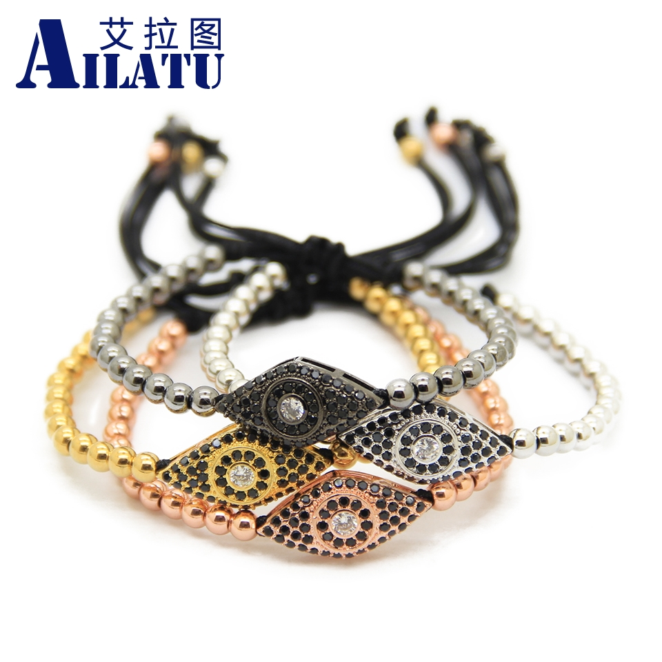 Ailatu Brand New Black Cz Lucky Eye Macrame Bracelets Wholesale 10pcs/lot 4mm Stainless Steel Beads Jewelry