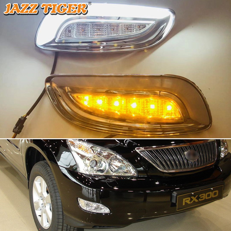 JAZZ TIGER Yellow Turn Signal Function 12V Car DRL Lamp LED Daytime Running Light For <font><b>Lexus</b></font> RX300 RX330 RX350 2003 - 2008 <font><b>2009</b></font> image