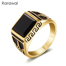 Ranzwal Punk Gold Color Stainless Steel Rings for Men Women Freemasons AG Signet Titanium Ring Men Jewelry US SIZE 7~13 MRI009