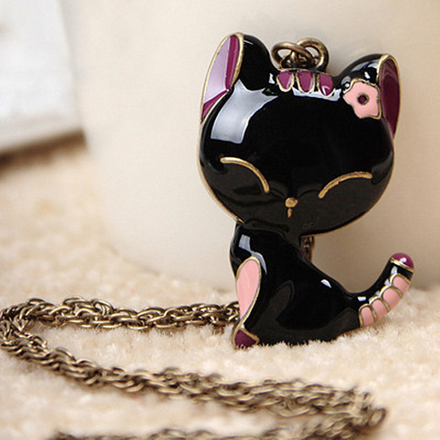 N141 Lovely Cat Pendant Necklace Long Chain Sweater Necklaces Fashion Jewelry Collares 2017 Promotion