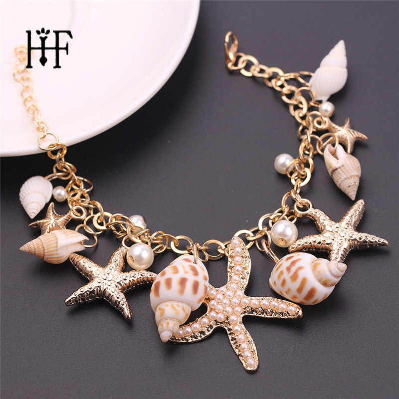 Summer Jewelry Korean Fashion Star Starfish Conch Shell Unlimited Charm Multi-element Bracelet For Women Pulseras Mujer