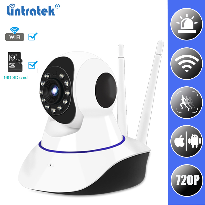 цена IP Surveillance WiFi Camera HD 720P Wi-fi Mini CCTV Camera Wireless Home Security Baby Monitor Cam with 16G SD Card LINTRATEK