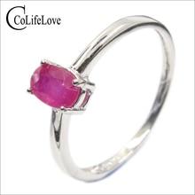 Clássico rubi anel de casamento para a mulher 4mm * 6mm genuine rubi anel de prata anel de rubi prata esterlina real de prata de pedras preciosas jóias