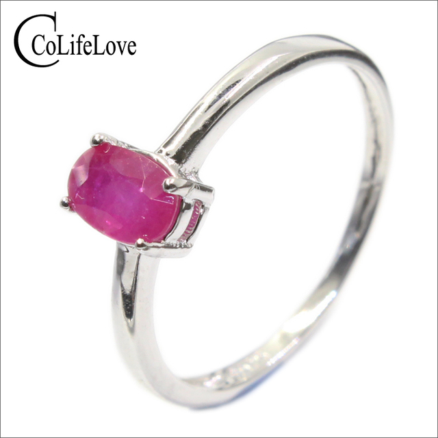 Classic ruby wedding ring for woman 4 mm * 6 mm genuine ruby silver ring sterlin