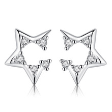 цена Promotion 925 sterling silver shiny crystal star female stud earrings women birthday gift drop shipping Anti allergy cheap в интернет-магазинах