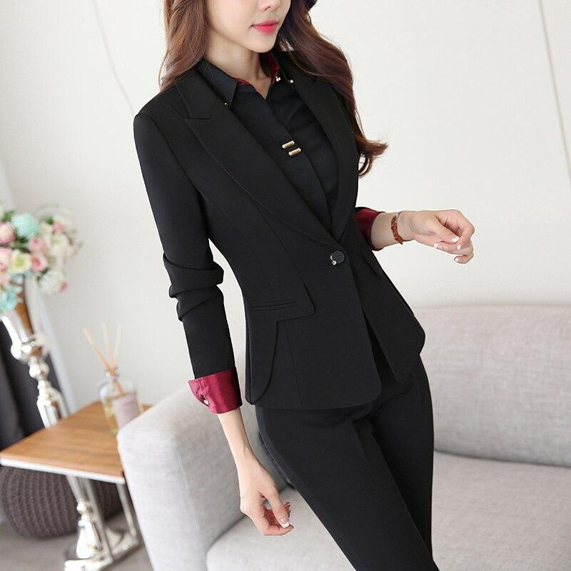 Two Piece Ladies Formal Pant Suit Office Uniform Designs Women Business Suits Black Blazer For ...