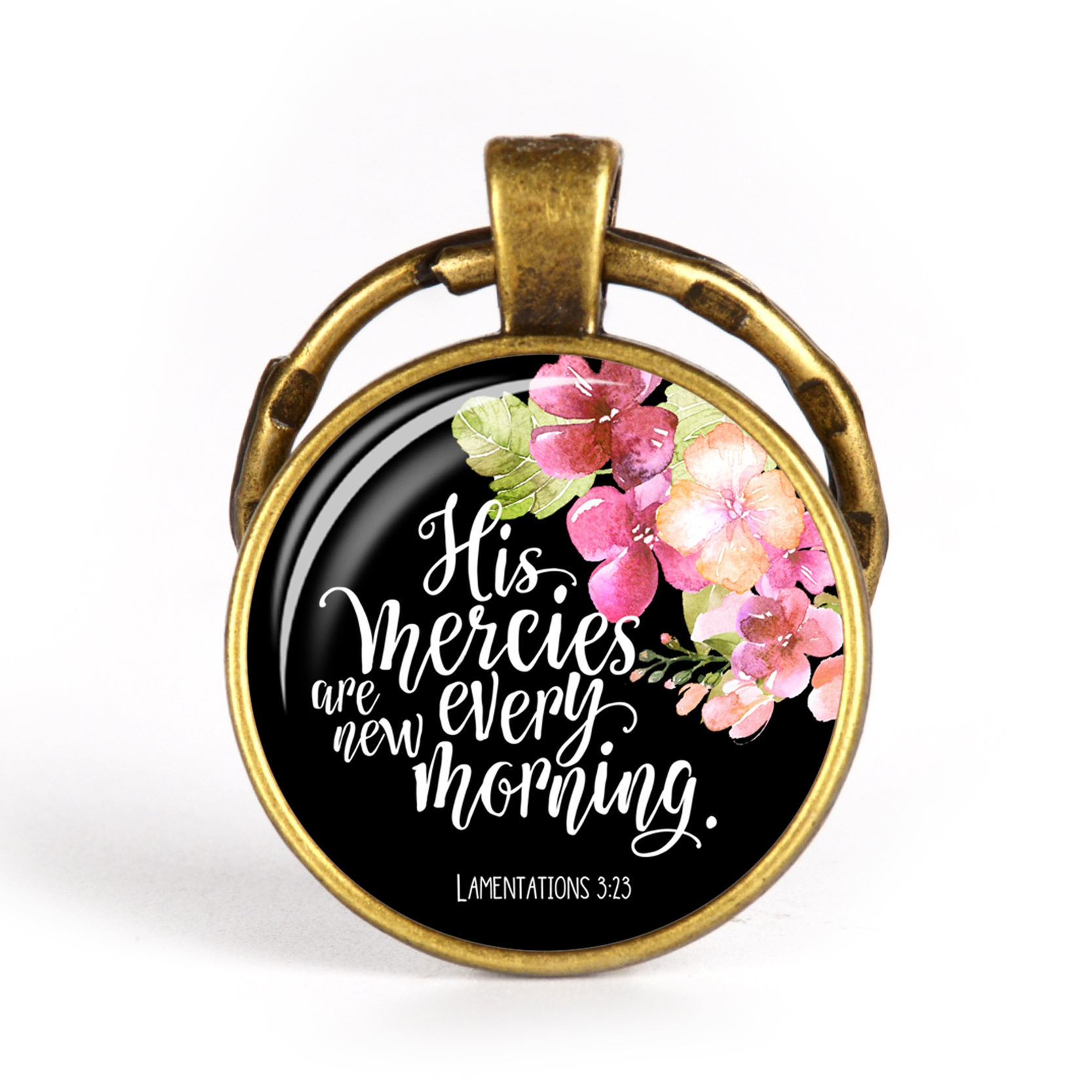 High Quality Glass Cabochon Pendant Metal Keychain Christian Faith Keyrings Inspirational Quote Faith Jewelry Gift For Men Women