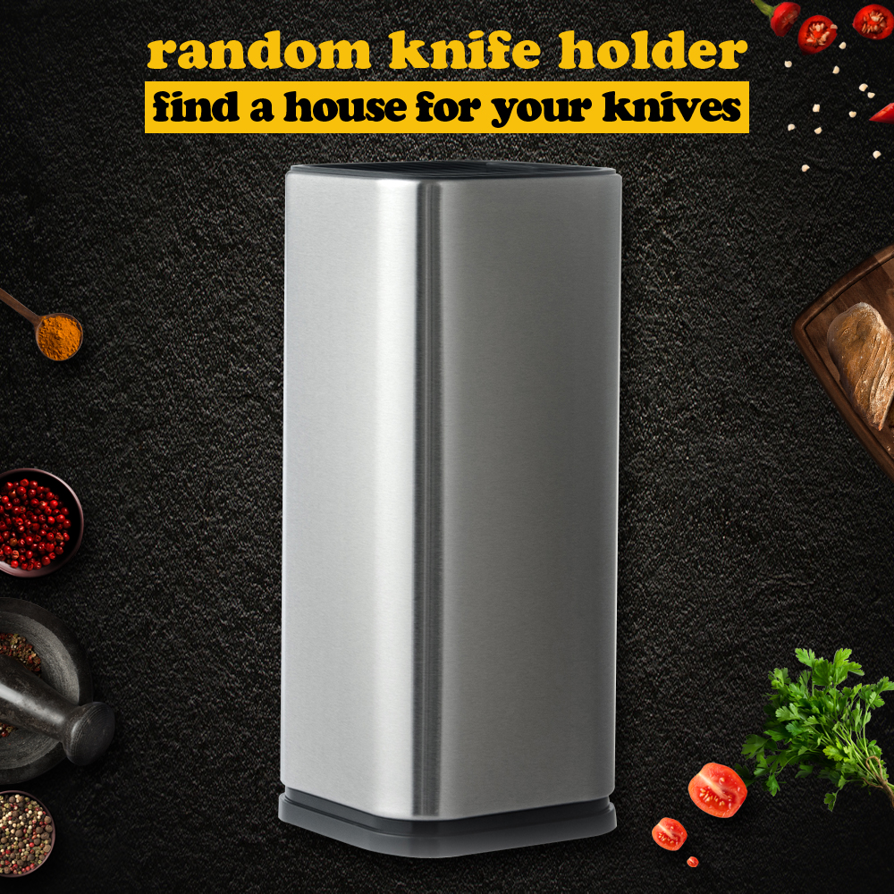 XYj Kitchen Knife Holder 8 Inch Stainless Steel Cooking Knives Stand Large Capacity Kitchen Helper For Scissors Sharpener