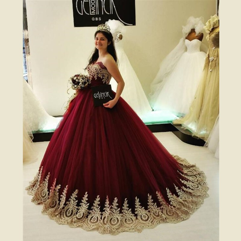 Burgundy Ball Gown Wedding Dresses with Gold Appliques Great Design ...