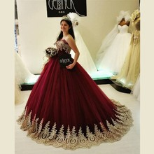 Burgundy Ball Gown Wedding Dresses with Gold Appliques Great Design Lace up Back Beaded Tulle Bridal Gowns