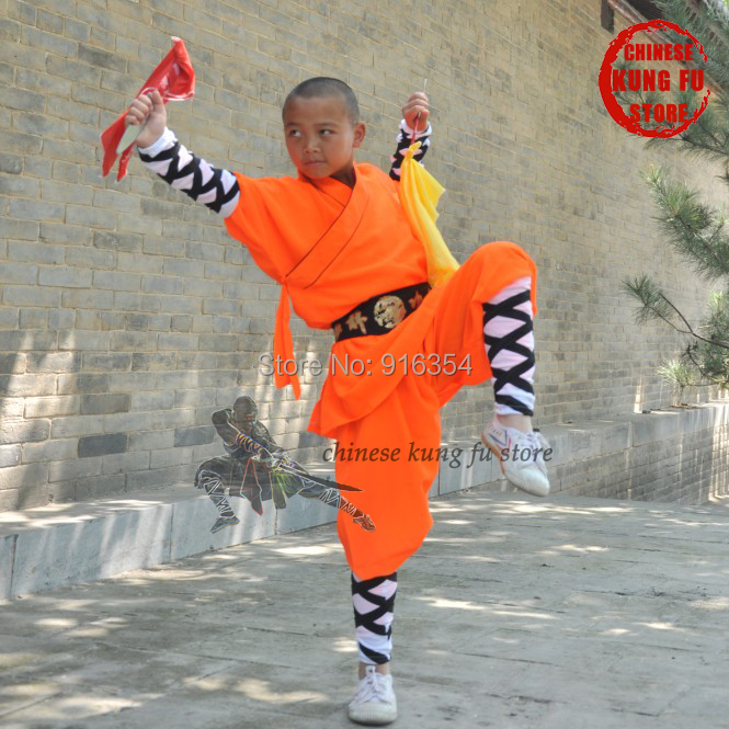 Popular Children Adults Orange Shaolin Monk Students Kung Fu Uniforms Martial Arts Wing Chun Tai Chi Suit