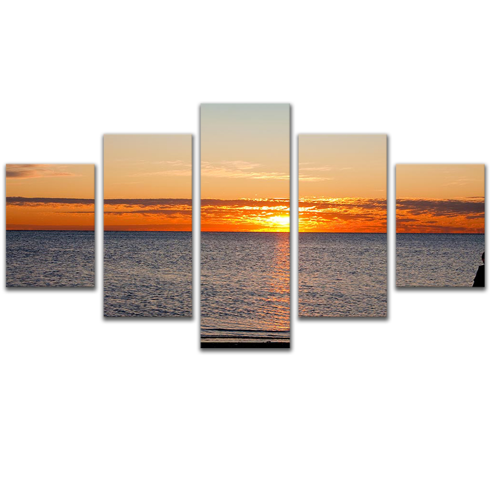 Unframed Canvas Painting Sea Level Sunset Pink Clouds Photo Picture Prints Wall Picture For Living Room Wall Art Decoration