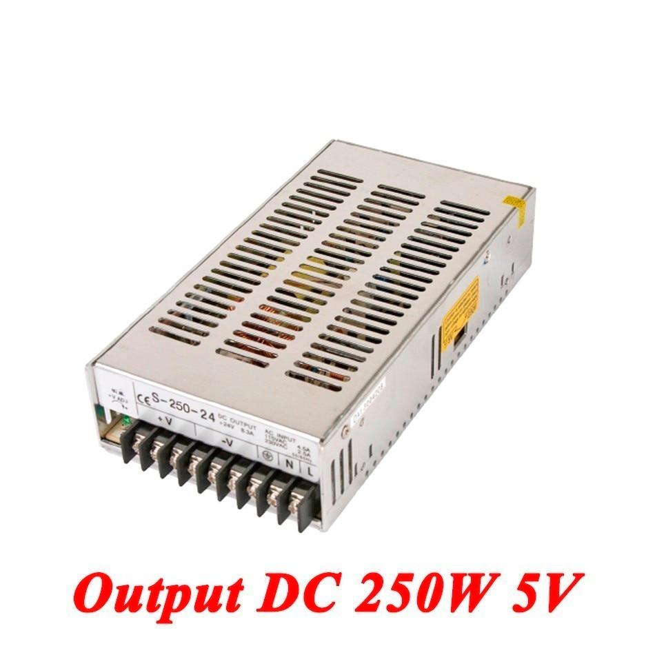 S-250-5 Switching Power Supply 250W 5v 50A,Single Output Ac-Dc Power Supply For Led Strip,AC110V/220V Transformer To DC 5V 1200w 48v adjustable 220v input single output switching power supply for led strip light ac to dc