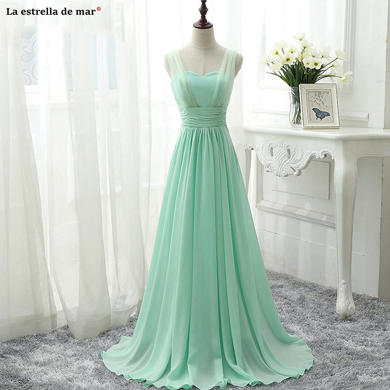 Vestidos Boda Invitada Mujer New Tulle Chiffon Sexy V Neck A Line Mint Green Royal Blue Pink Champagne Bridesmaid Dress Long