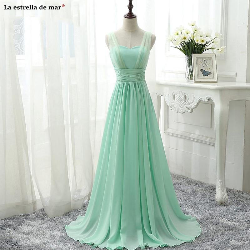 Vestidos Boda Invitada Mujer New Tulle Chiffon Sexy V Neck A Line Mint Green Royal Blue Pink Champagne Bridesmaid Dress Long