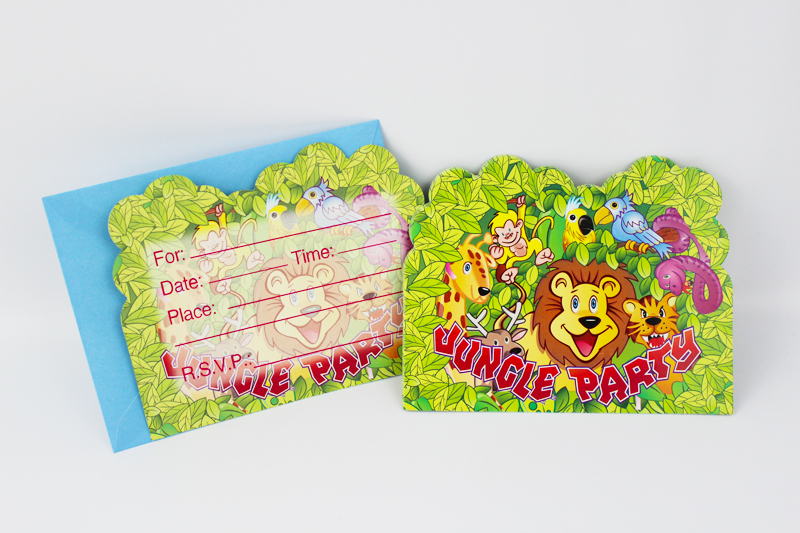 Us 2 13 6pcs Envelop Shape Jungle Party Theme Party Invitation Card Kids Baby Birthday Festival Party Card Decoration Supplies In Cards