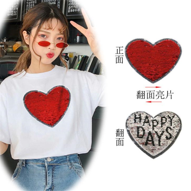 Реверсивный изменить цвет пайетки патчи для одежды 15 см сердце иметь дело с ним счастливые дни патч diy Одежда Футболка женские наклейки