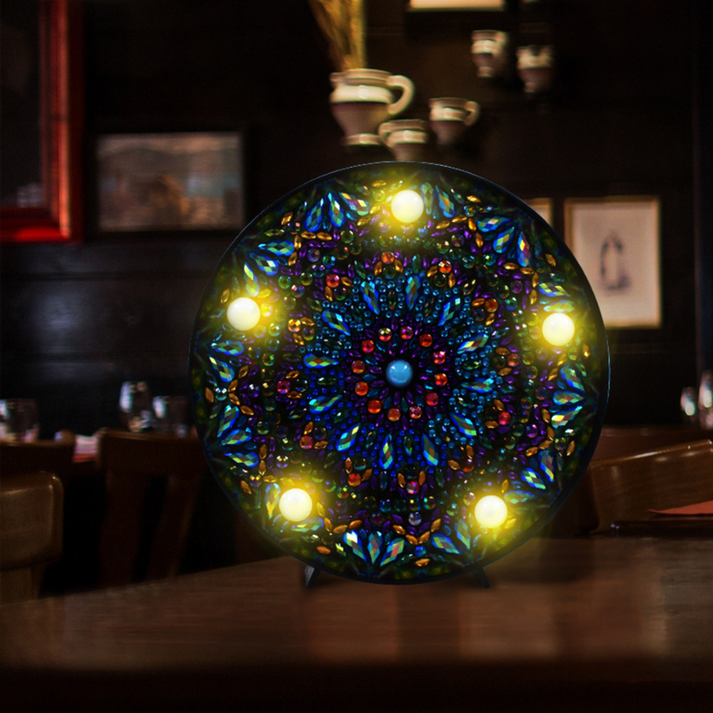 DIY Mandala LED Diamond Painting Light Box Cross Stitch Embroidery Lamp Full Special Drill LED Lamp Rhinestones Home Decoration