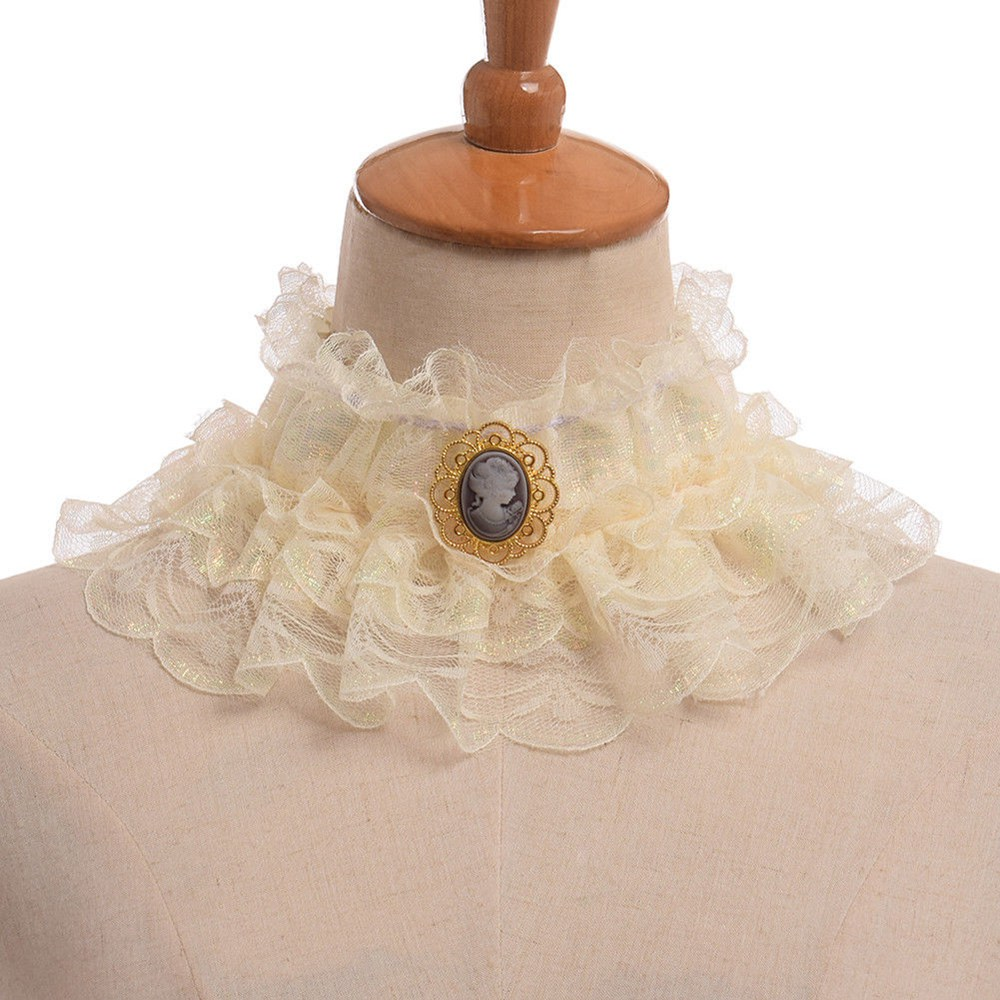 Vintage Elizabethan Victorian Neck Ruff Cosplay Ruffled Detachable Collar ...