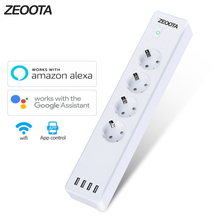 Wifi multiprise intelligente 4 L'UE Sorties Plug Socket avec usb 4 port de charge, App contrôle vocal Travail avec Alexa, Google Assistant À La Maison