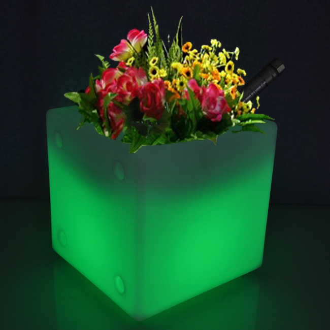Free Shipping LED Light Flowerpot Colors Changeable Luminous flash flower pot tray VASO Vase LIGHT indoor Outdoor D30cm*H30cm